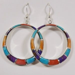 Multicolor Inlay Sterling Silver Earrings